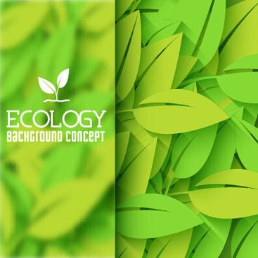 ecology green leaf shiny background vector