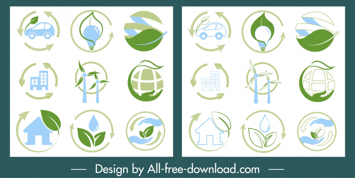 ecology icons collection colored flat symbols sketch