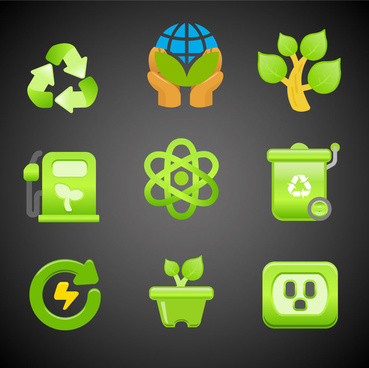 ecology icons design with green color