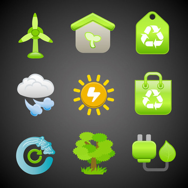 ecology icons with green color on black background