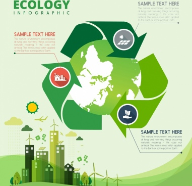 ecology infographic banner green planet arrows decoration