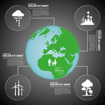 ecology infographic design with earth