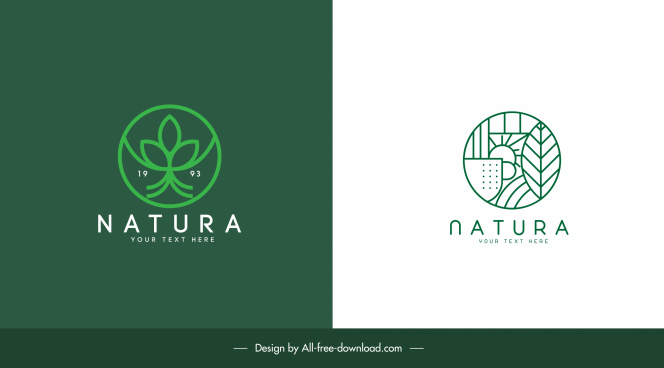 ecology logo templates flat design green nature elements