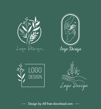 ecology logo templates leave hand sketch handdrawn design
