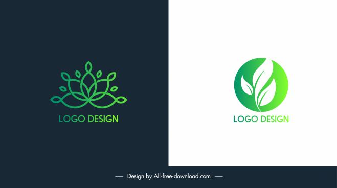 ecology logotypes flat green leaf sketch