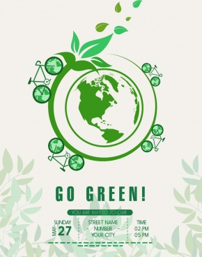 ecology poster green globe icon decoration