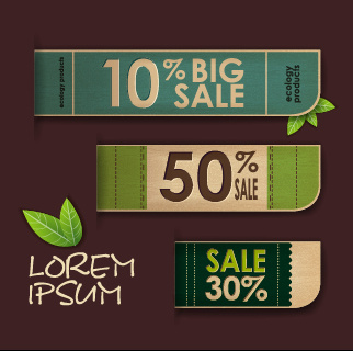 ecology products price tags vector set