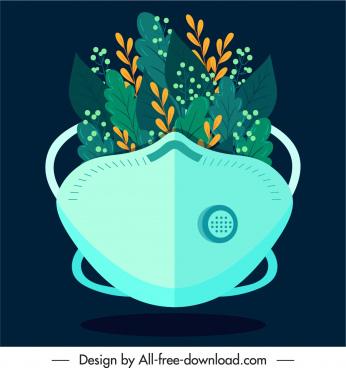 ecology protection background face mask plants sketch
