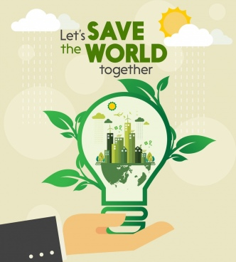 ecology protection banner green leaf lightbulb icon decor