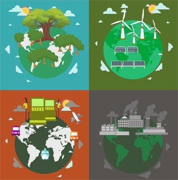 ecology protection concepts illustration with earths elements