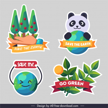 ecology protection logotypes colorful flat paper cut sketch