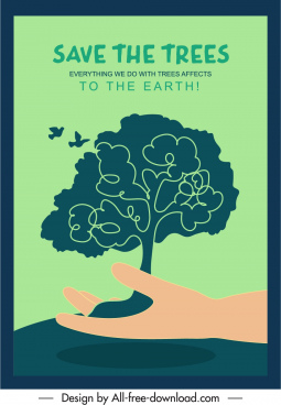 ecology protection poster classical handdrawn tree hand sketch