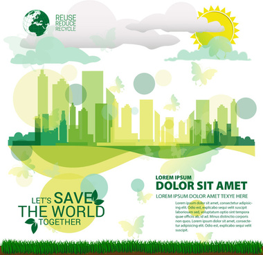 ecology saving banner design with cityscape vignette style