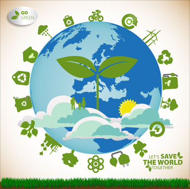 ecology saving banner with earth illustration