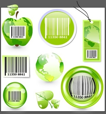ecology with barcode label and tags vector