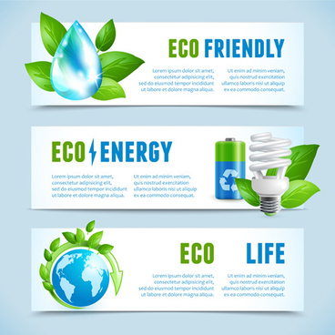 ecology with energy saving banners vector