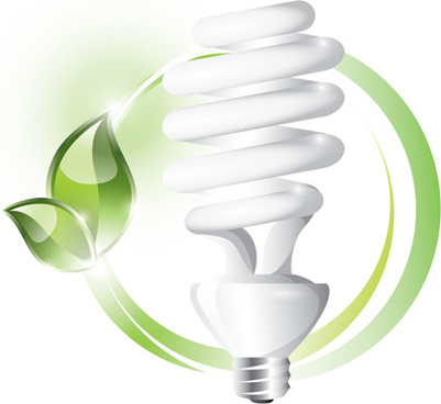 ecology with energy saving lamps vector