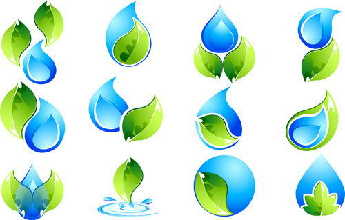 ecology with water logos creative vector