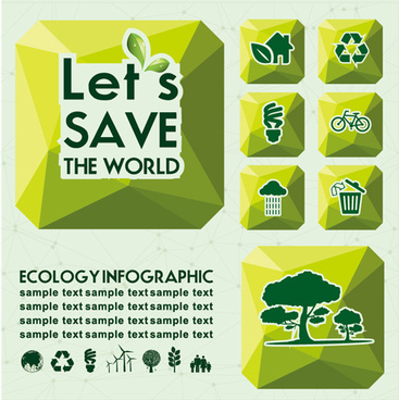 ecology with world infographic vector