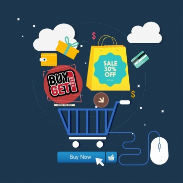 ecommerce background shopping computing elements icons