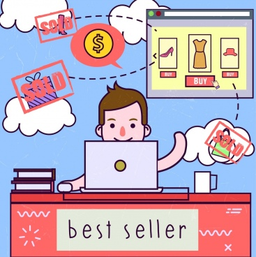 ecommerce banner person computer goods icons colored cartoon