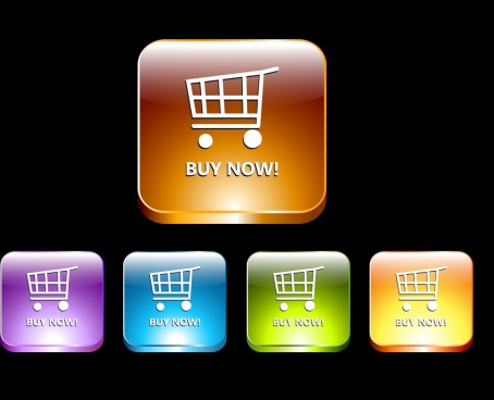 ecommerce buttons collection colorful shiny squares isolation