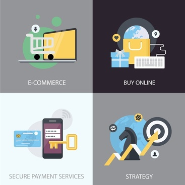 ecommerce development elements with various types illustration