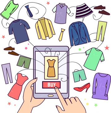 ecommerce drawing hand smartphones clothes icons colored cartoon