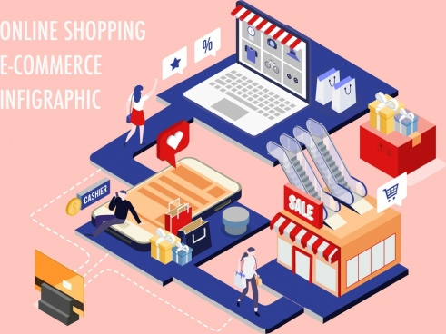 ecommerce inforgraphic shopping design elements 3d sketch