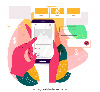 ecommerce marketing background colorful flat smartphone application sketch