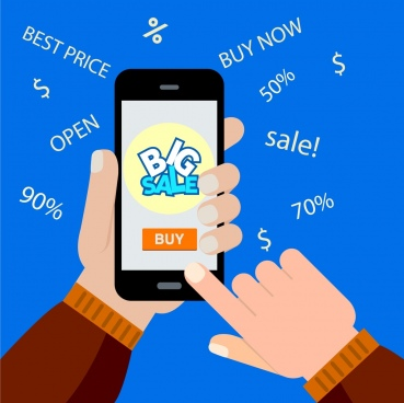 ecommerce sales background hand smartphone texts icons