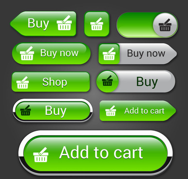 ecommerce shaped buttons design on green background