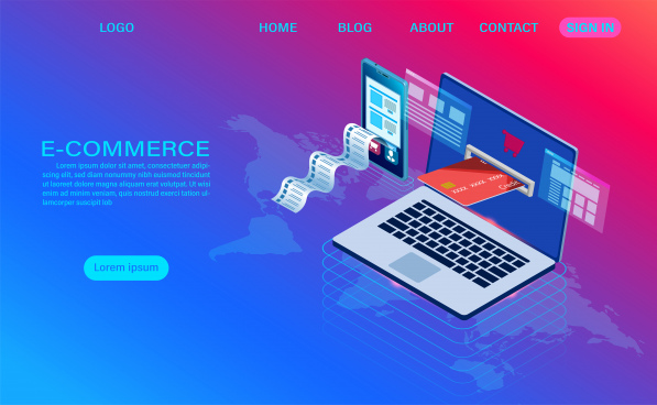 ecommerce shopping online with computer and mobile vector 3d isometric template