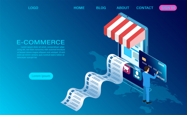 ecommerce shopping online with mobile vector 3d isometric template