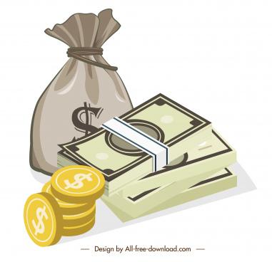 economy design elements cash coin sack sketch