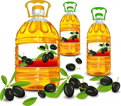 olive oil advertising banner fruit bottles icons decor