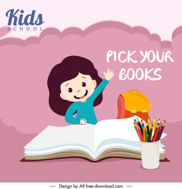 education advertising banner pupil book tools sketch