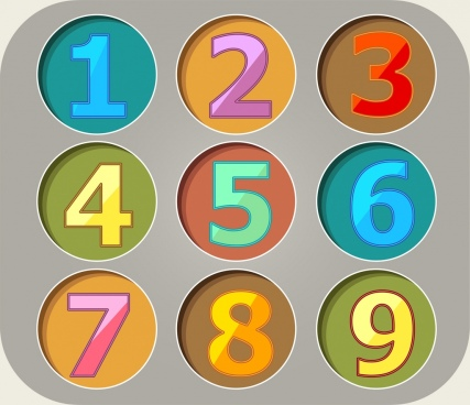 education backdrop colorful numbers icons circles isolation