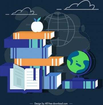 education background books stack dark colored 3d sketch