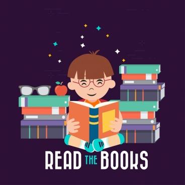 education background boy reading books icon colored cartoon