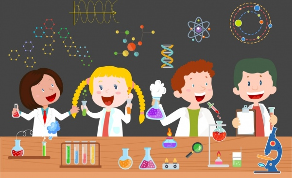 education background children lab tools icons cartoon characters