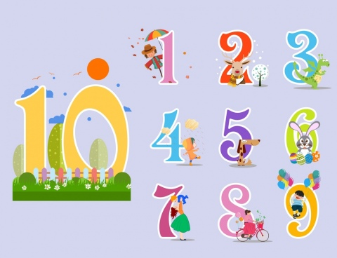 education background colorful number cartoon characters decor