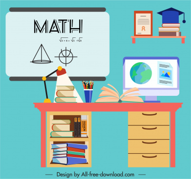 education background learning elements ketch colorful flat design