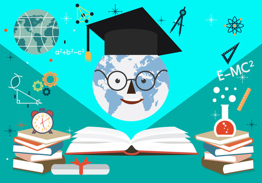 education banner illustration with cute snowman and books