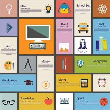 education design element various banners flat icons