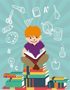 education design elements boy reading on books stack