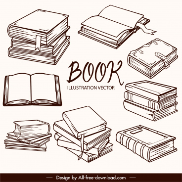 education design elements classical 3d books sketch