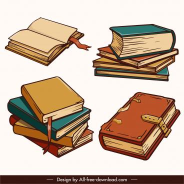 education design elements retro 3d books sketch