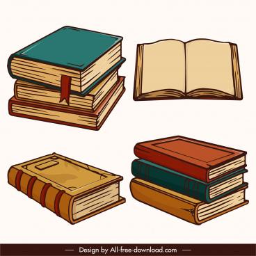 education elements books sketch retro 3d
