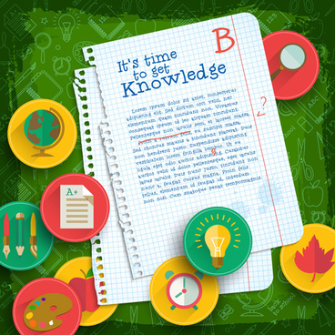 education elements creative vector background set